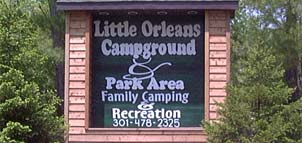 Little Orleans Campground & Park Area signage