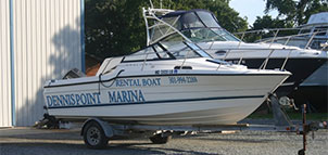 Boat at Dennis Point Marina & Campground