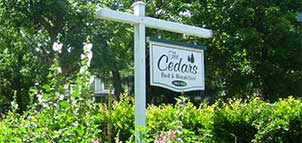 The Cedars B&B Sign