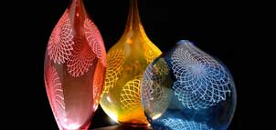 Glass art vases