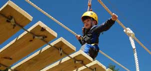 Child on Chipmunk Challenge Course