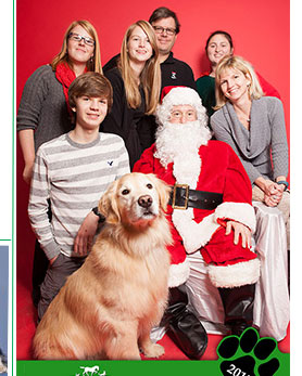 Photo of Santa with a Family and Pet