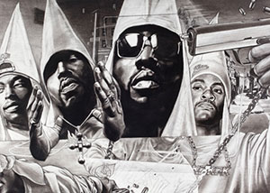 Illustration of youth in stylized kkk hip hop garb