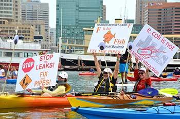 Photo of Floatilla participants in kayaks