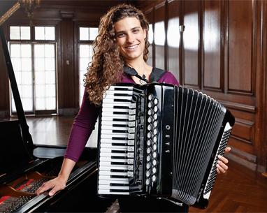 Simone Baron with accordian and piano