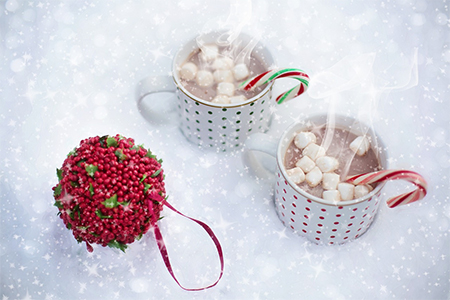 Cups of hot chocolate