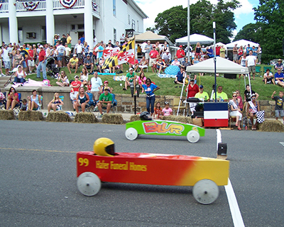 A Derby Coaster at the Elks Lodge finish line