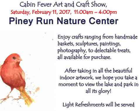 flyer for Piney Run Cabin Fever Art Show