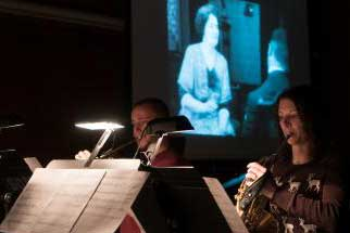 Musicians play live accompaniment to film