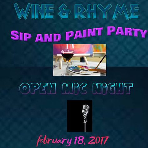 Sip and Paint and with Open Mic Night poster