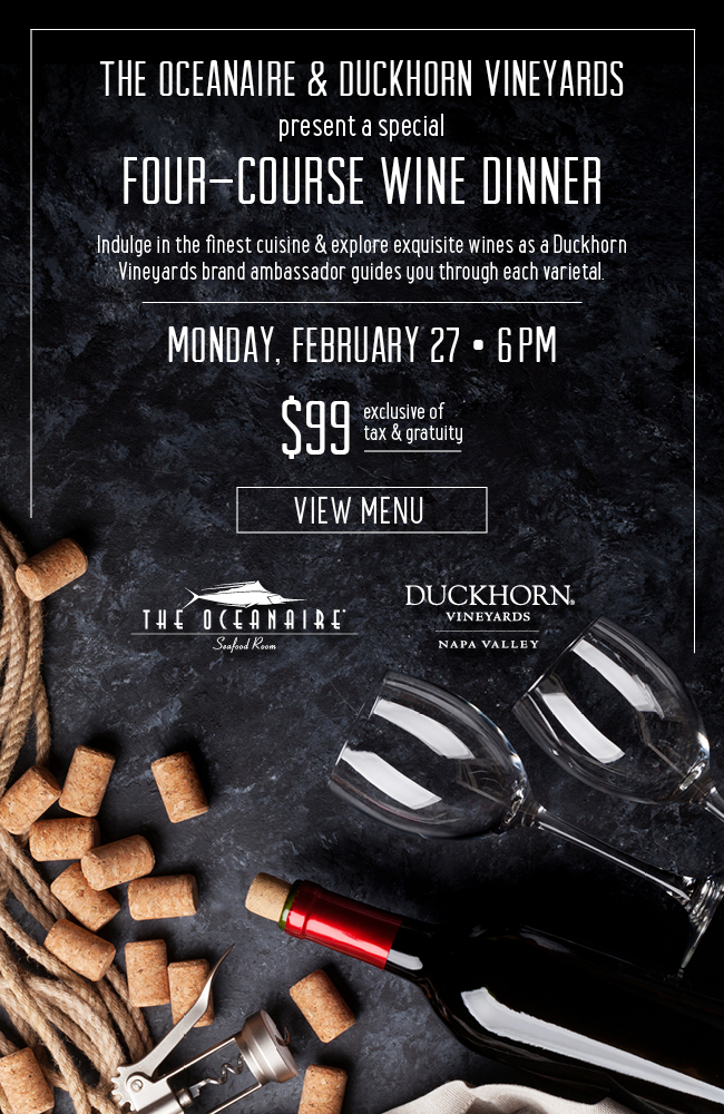 Duckhorn Wine Dinner at the Oceanaire