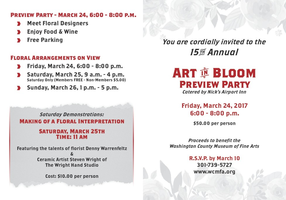 Invitation to Art in Bloom Preview Party