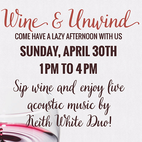 Wine & Unwind with Keith White Duo flyer