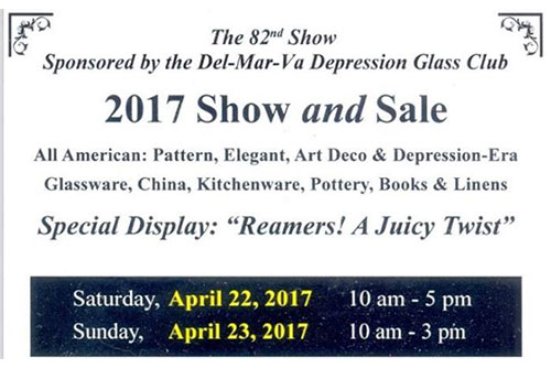 flyer for the 2017 Depression Glass Club Show