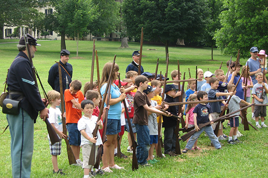 Children drill as Civil War Infantry