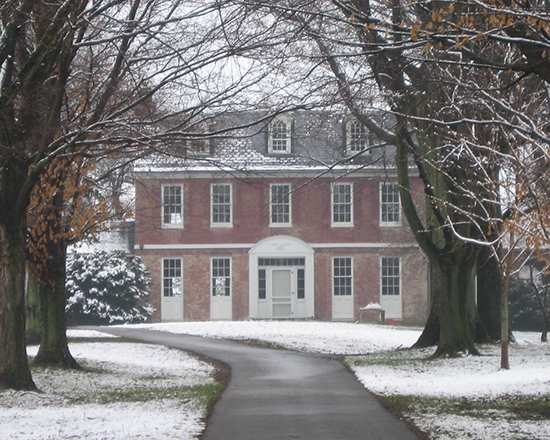 Snow covers the Thomas House at Monocacy National Battlefield