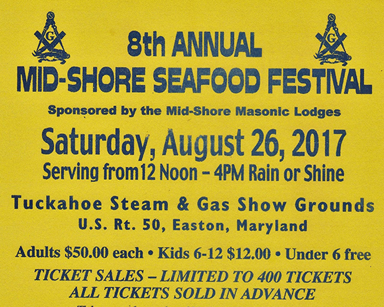 8th Mid-Shore Seafood Festival event flyer