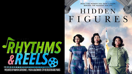 Rhythms and Reels logo with Hidden Figures poster