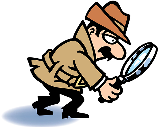 line drawing of detective with magnifying glass