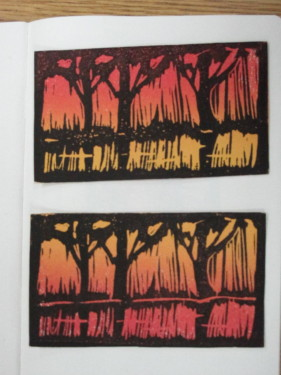 Example of a color linocut.