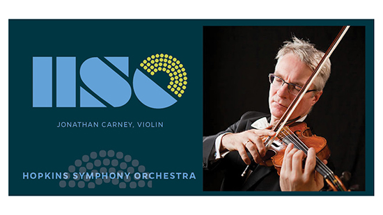 Hopkins Symphony logo with Jonathan Carney on violin