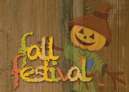 Fall Festival Logo with smiling pumpkin scare-crow