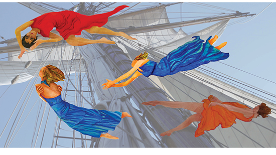 Graphic of Dancers Flying Amidst the Salils