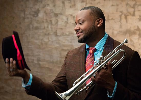 Photo of Sean Jones with his trumpet