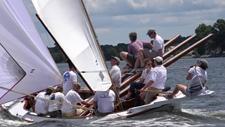 Crew sailing during a Log Canoe Race.