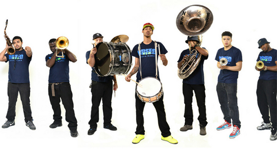 New Breed Brass Band on stage