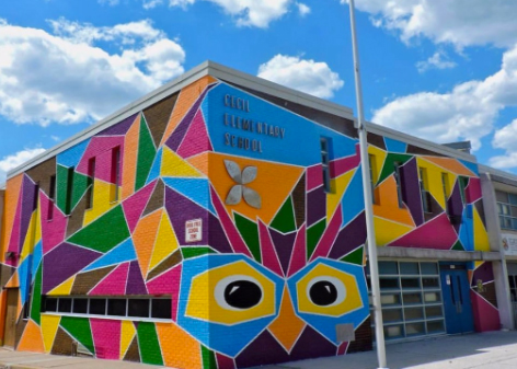 Cecil Elementary School Exterior with Mural
