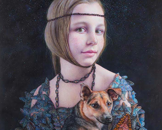 image of a mysterious girl with her dog
