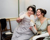 Two Women in Period Attire at Twelfth Night Ball