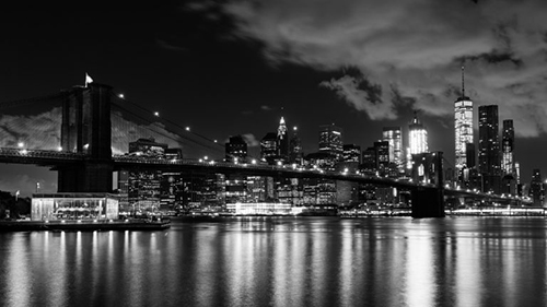 Photo of Manhattan Skyline at Night in Black and White