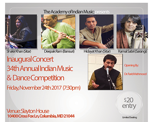 Indian Classical Music Concert flyer