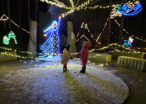 Young Visitors at the Garden in Lights!
