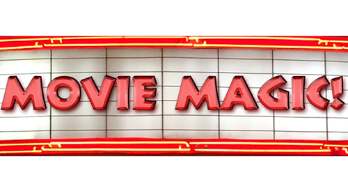 Movie Magic! on a neon theater marquee