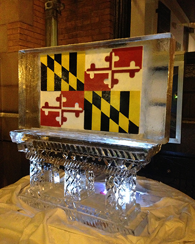 ice sculpture with Maryland Flag in background
