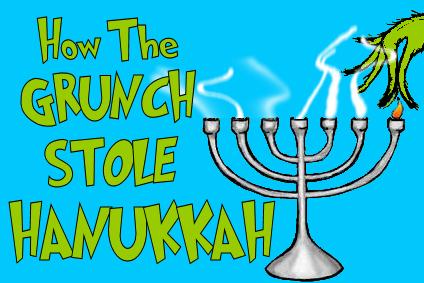 Green hand snuffs the flame of Hanukkah menorah