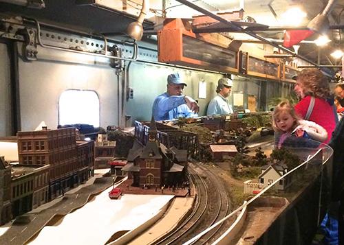 Model Railroad Train Garden with visitors