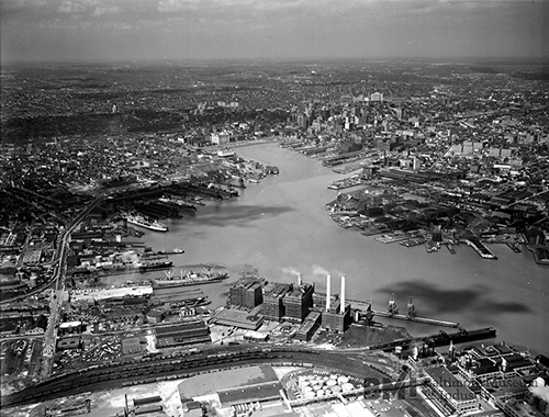 Old black and white aerial photo of Port