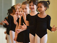 Child dancers in class.