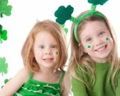 Children wearing green and shamrocks
