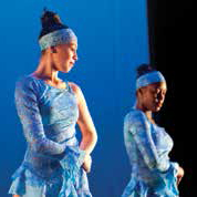 two female dancers in blue