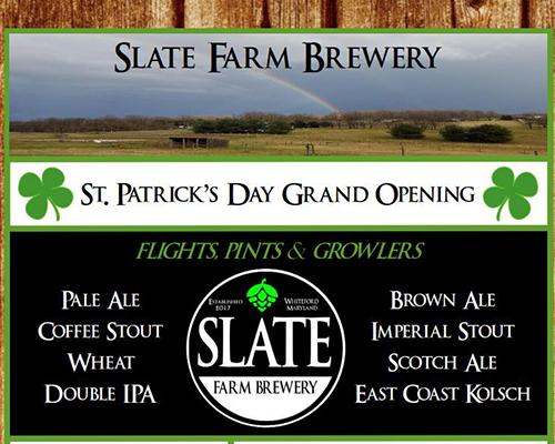 Slate Farm Brewery St. Patrick's Day flyer