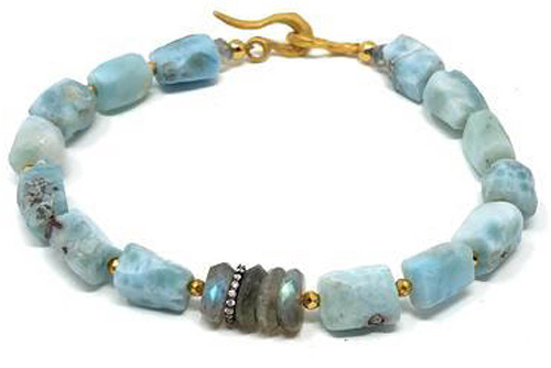 Bracelet of Larimar and Labrodite, hand crafted by Mickey Lynn Jewelry