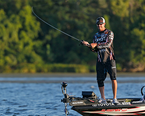 Angler fishing in the competition