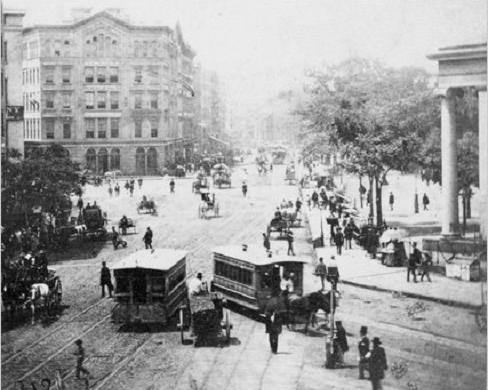 Streetcars on Park Row around 1860 in NY.
