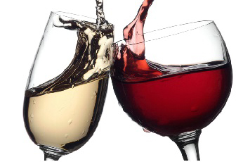 white and red wines in wine glasses