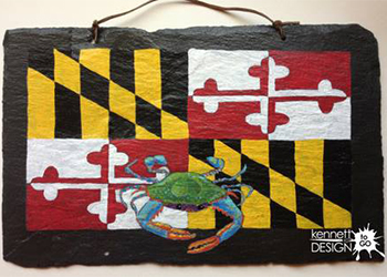 Maryland Flag and Blue Crab Painted on Slate